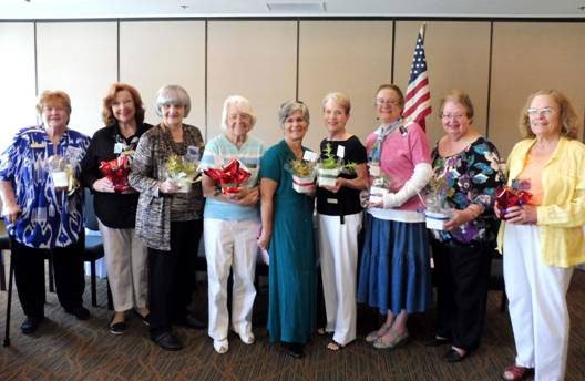 Left to Right: Directors:Alice Reule, Fran Jensen (representing Sylvia Buesch), Lori Sanna; Treasurer Ruth Schneider; Corresponding Secretary Linda Story; 4th Vice President Karen Rott; Karen Keusseyan (representing Judy Pantazo, 1st Vice President); Palomar District President and Installing Officer Myrna Binford; President Nancy B Jones Poto by Fran Jensen