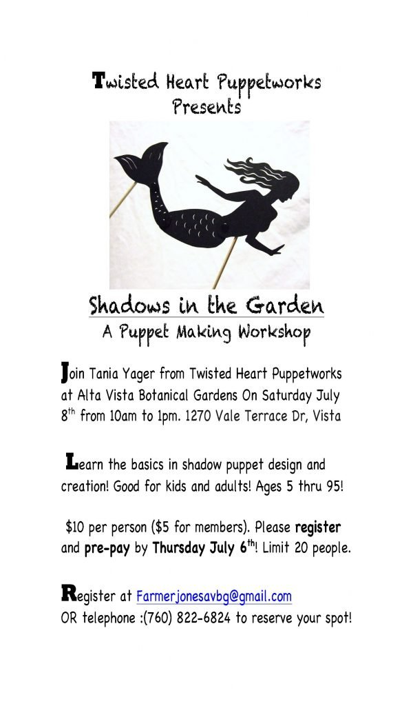 Shadows In The Garden Puppetry Workshop For All Ages The Vista Press The Vista Press