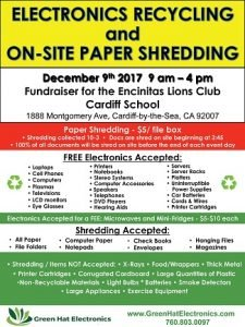 encinitas lions club electronics recycling on site With document shredding oceanside ca