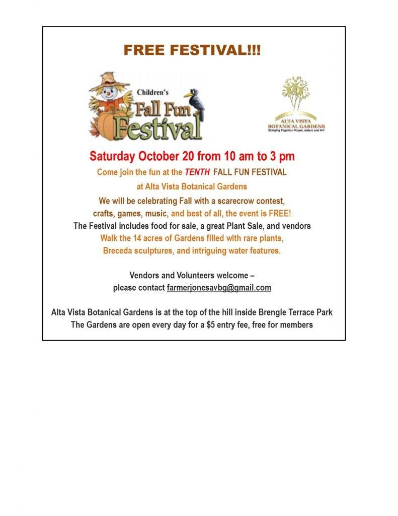 Tenth Fall Fun Festival At Alta Vista Botanical Gardens The Vista