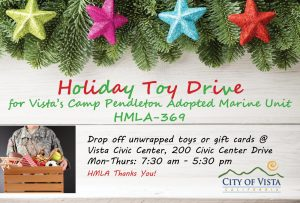 Holiday Toy Drive For City's Adopted Marine Unit - The Vista