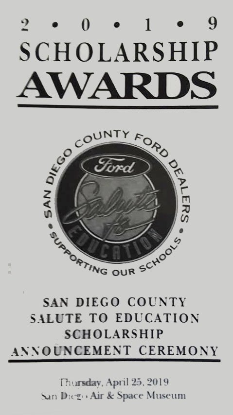 San Diego Ford Dealers >> San Diego County Ford Dealers Scholarship Awards The Vista Press